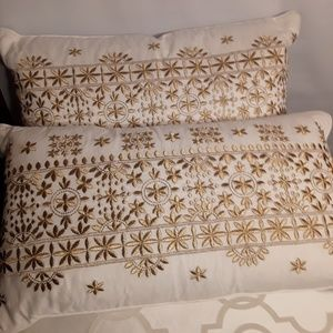 Celerie throw Pillows  set of 2 White  with Gold